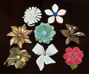 Vintage Brooch Lot (8) - 1 Signed, 1 Made In Germany
