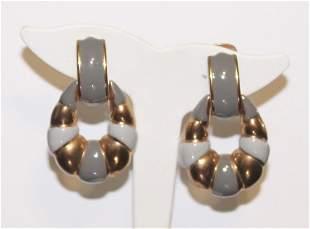 Vintage DONALD STANNARD Enamel Door Knocker Earrings