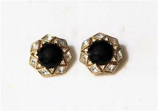 Christian Dior Jewelry Art Glass Rhinestone Earrings