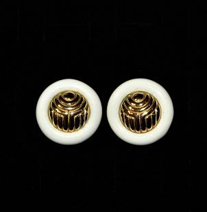 Givenchy Jewelry Gold Plate White Lucite Clip Earrings