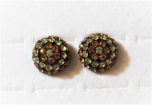 Vintage Schreiner Jewelry - Rhinestone Clip On Earrings