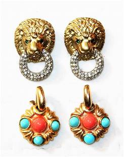 2 Pair of Costume Jewelry Earrings by Kenneth J Lane
