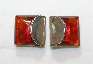 Bergere Costume Jewelry Amber Lucite Clip On Earrings
