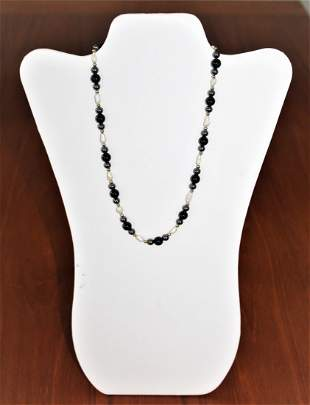 14k Gold Baroque Pearl Onyx Necklace