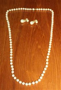 Marvella Costume Pearl Necklace Earring Set