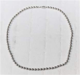 Italian Sterling Silver 925 Bead Choker Necklace
