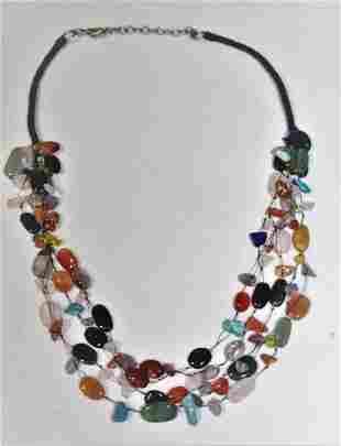 Natural Gemstone Necklace With 5 Floating Strands