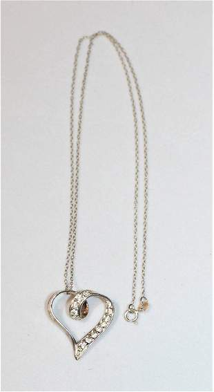 """Sterling Silver Cz Heart Pendant and 18"""" 925 Necklace"""
