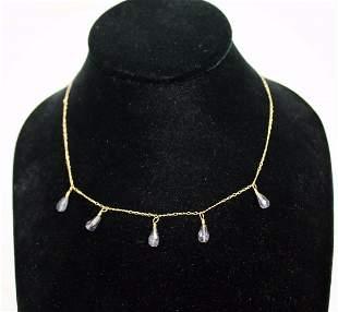 """14K Gold 16"""" Necklace w/ 5 Teardrop Amethyst 2.4 Grams"""