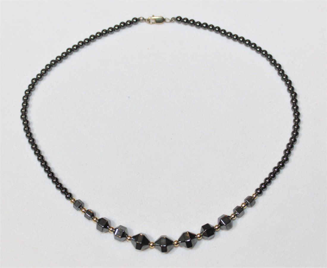 14k Yellow Gold Hematite Bead Necklace