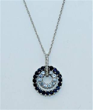 14K Gold Necklace 14K Diamond Sapphire Topaz Pendant