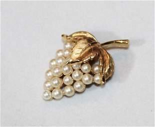 Crown Trifari Pearl Grape Cluster Pin Brooch