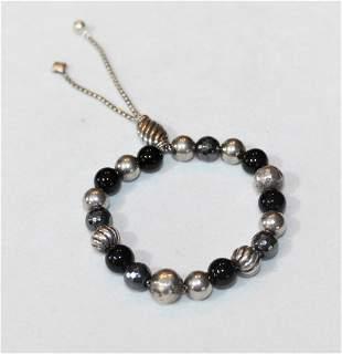 David Yurman Sterling Silver Onyx Bead Bracelet