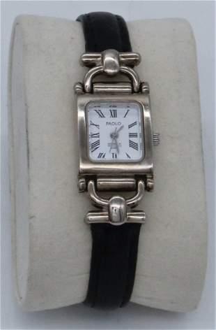 PAOLO GUCCI Quartz Watch PA2041-040 Black Leather Band