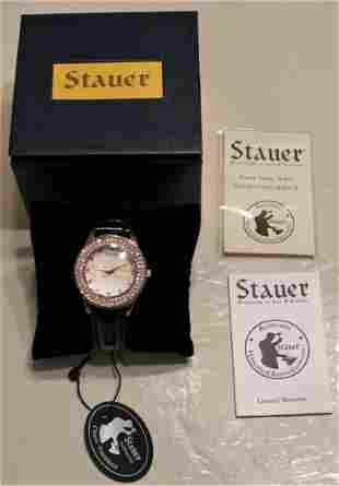 STAUER Sirene Rhinestone Bezel Numerals Quartz Watch