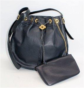 Vintage GIVENCHY Blue Leather Handbag, Change Purse
