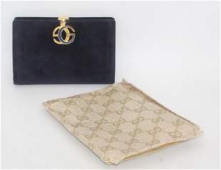 Vintage Gucci Blue Suede Wallet