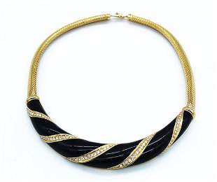 Christian Dior Rhinestone Enamel Gold Choker Necklace