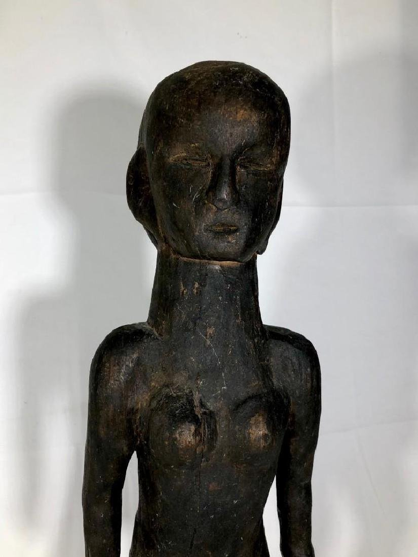 Native Tribal Female Carved Statue - 2