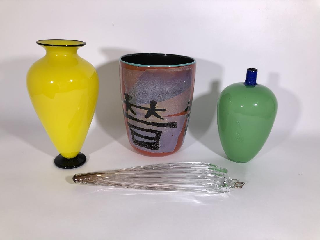 Lot of 4 handblown glass vases