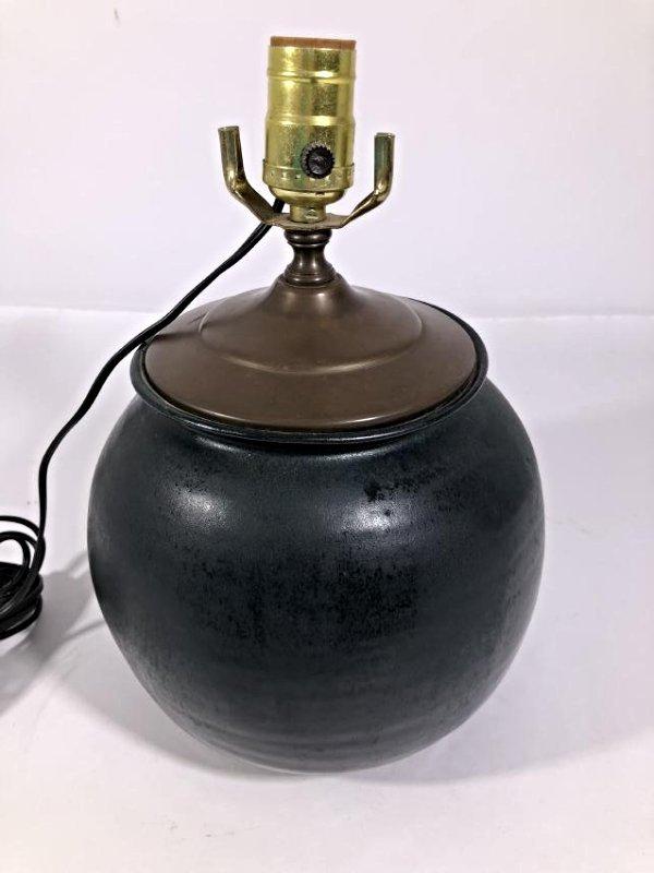 Glazed Dark Green ceramic table lamp