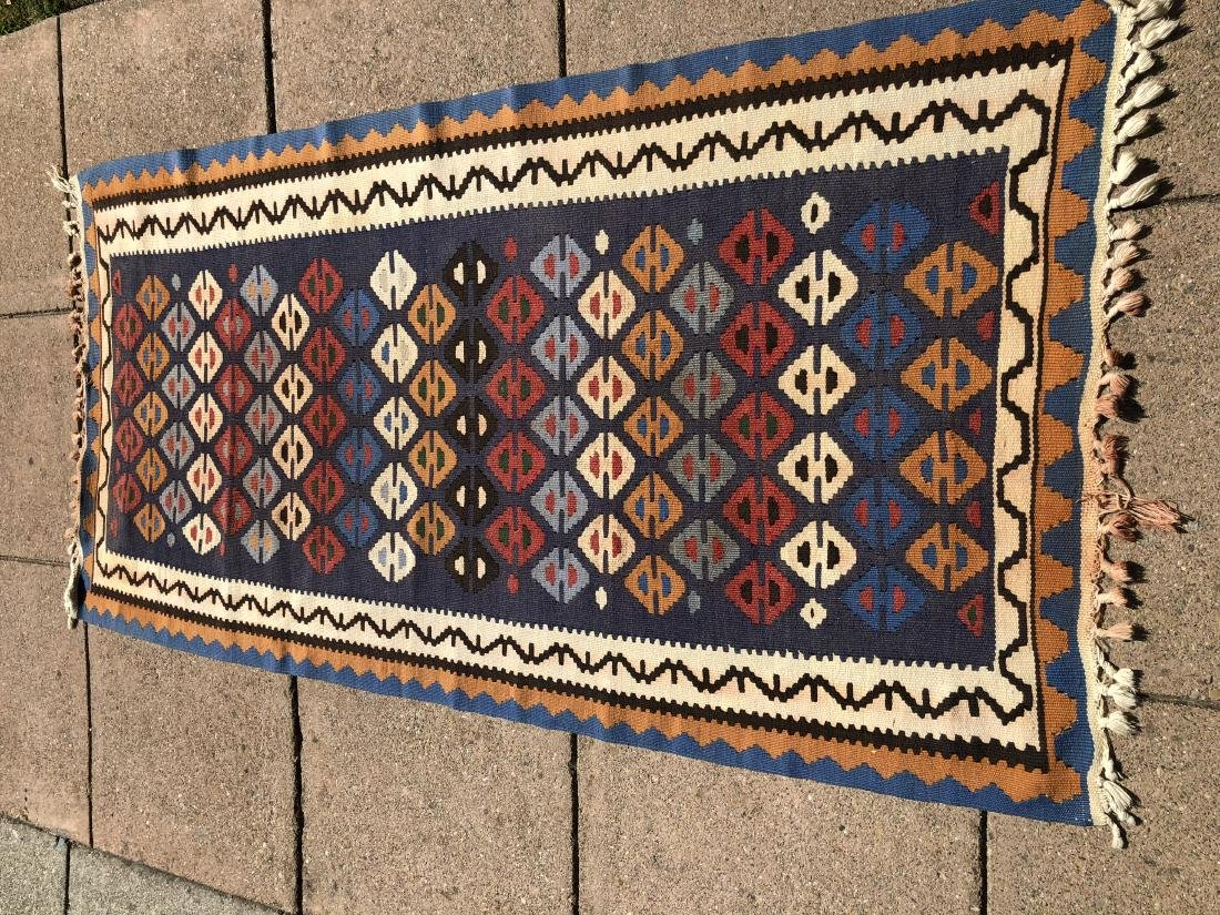 Kilims Rug in Blue, Red and Orange - 2