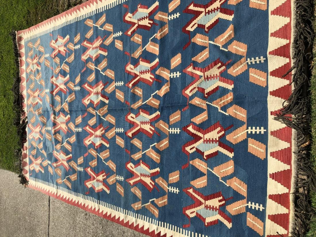 Kilim Rug in Blue, Red, and Orange