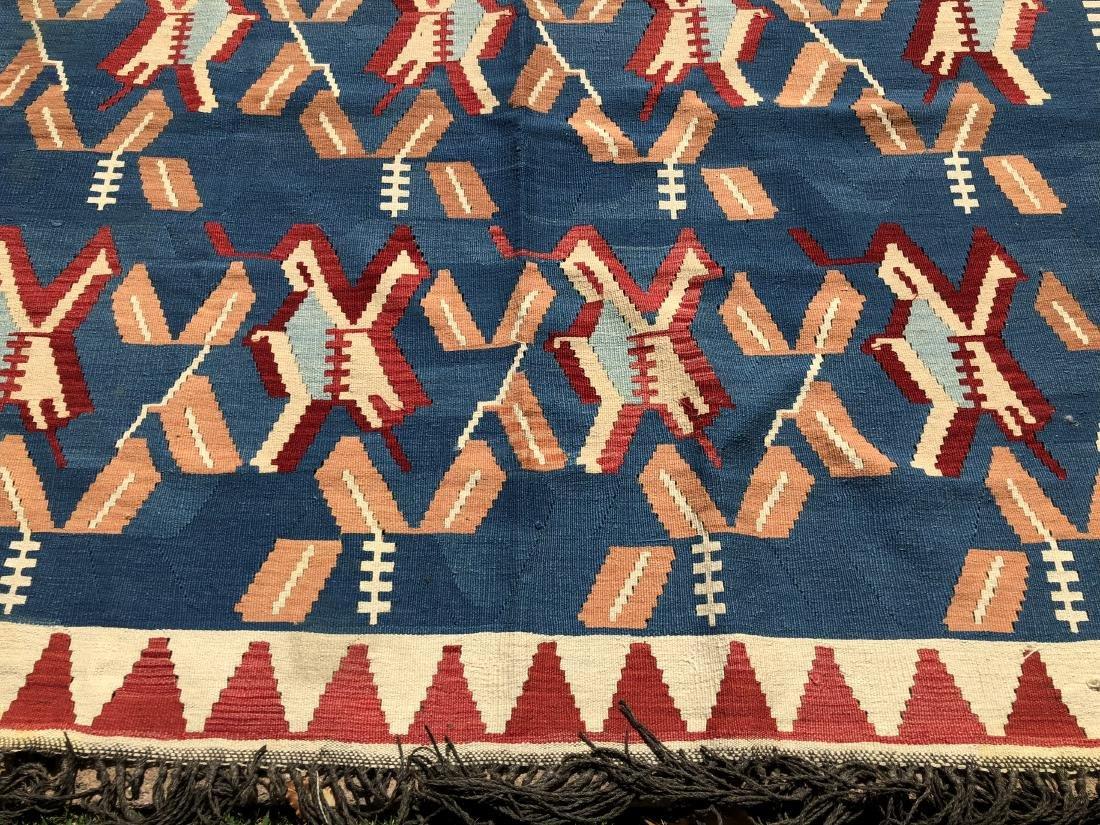 Kilim Rug in Blue, Red, and Orange - 2