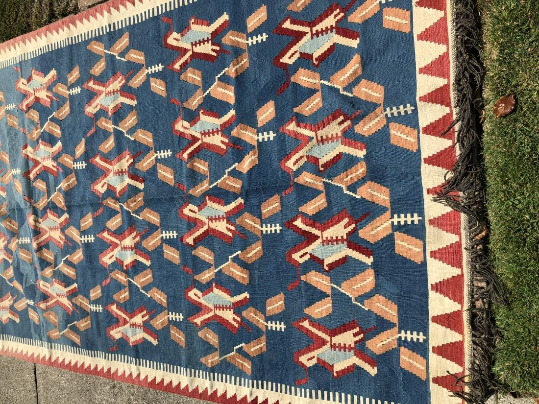 Kilim Rug in Blue, Red, and Orange - 3