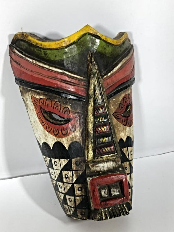 Colorful Painted Wood Tribal Mask (with Black and White - 2