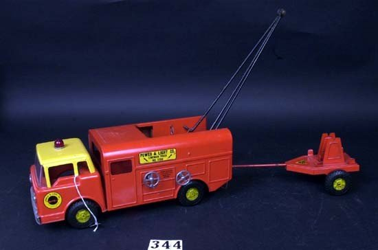 344: Ny-Lint Power & Light truck w/ crane & trailer