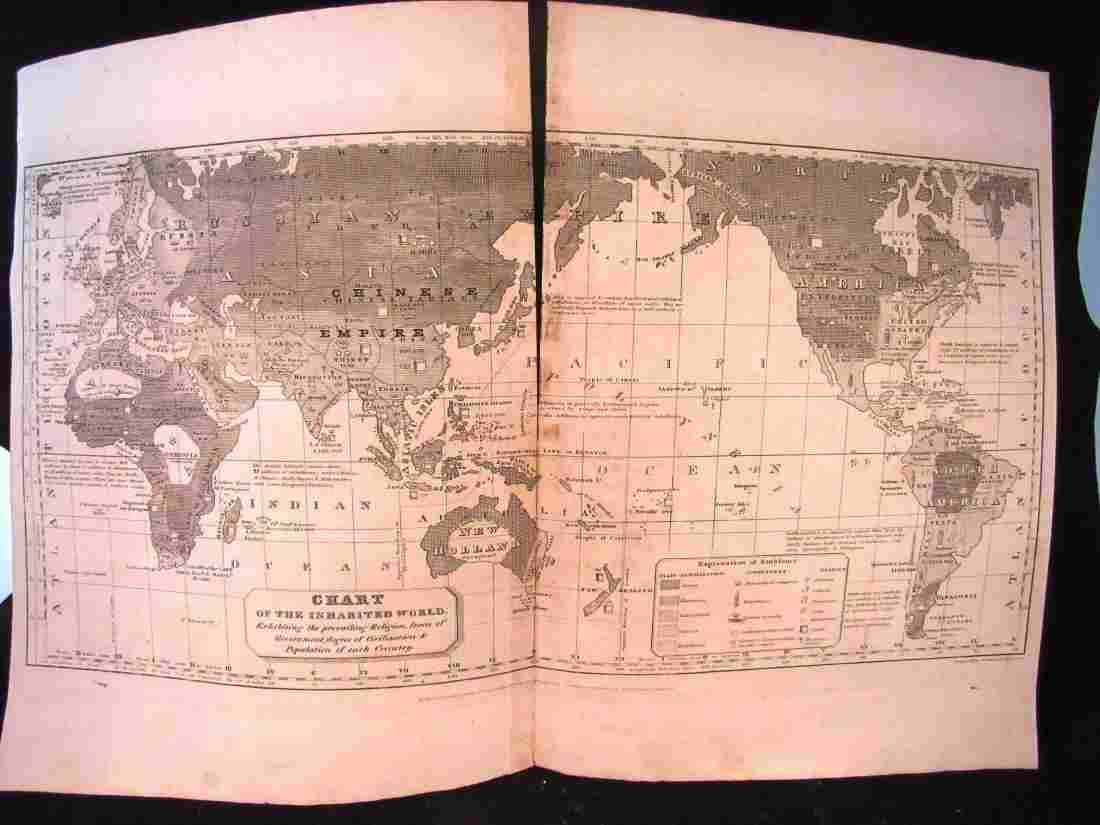 1821 2 page map Chart of the Inhabited world