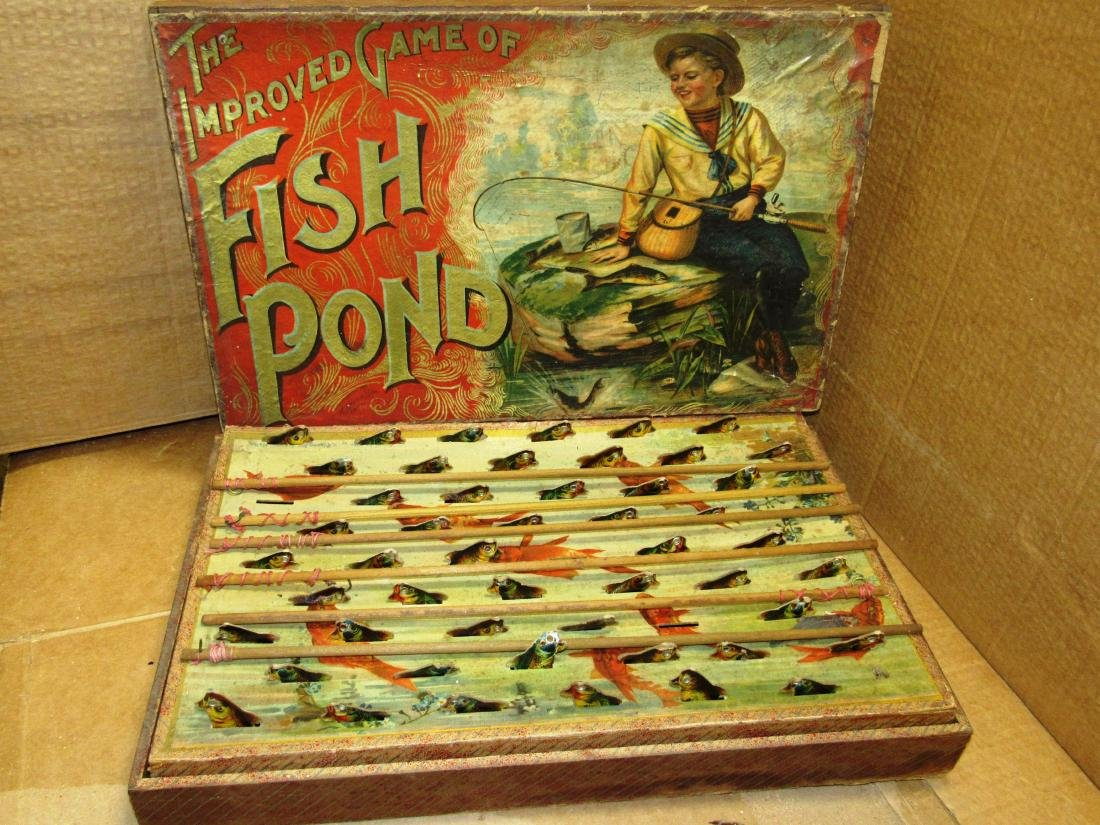 "1898 ""Fish Pond"" Mc Loughlin game in box"