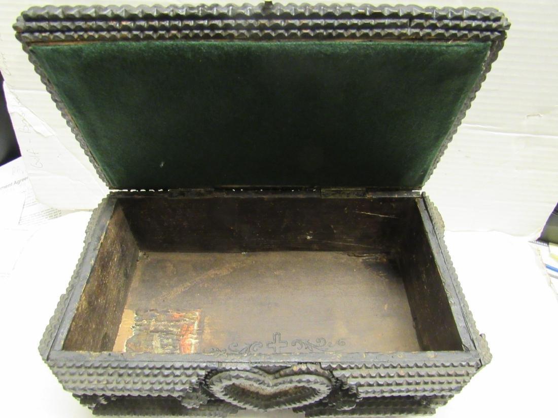 Late 19th c  Tramp art folk art box - 2