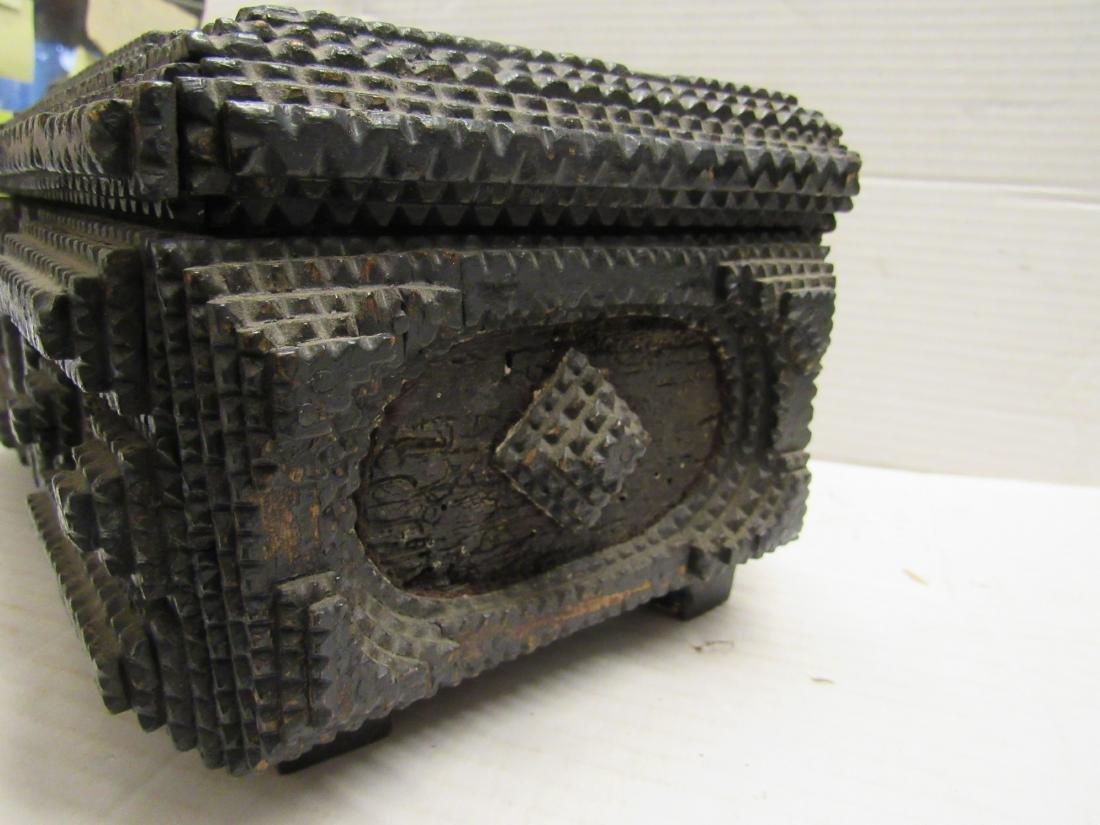 Late 19th c  Tramp art folk art box - 5