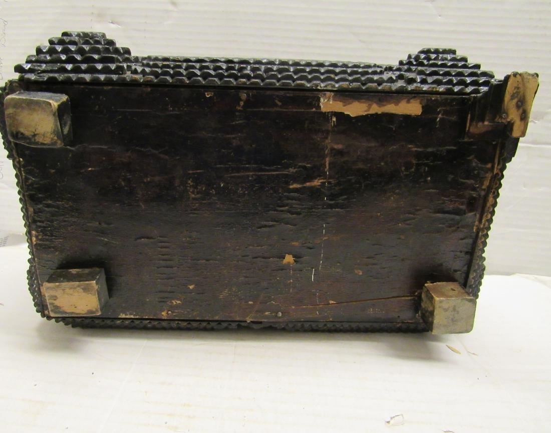 Late 19th c  Tramp art folk art box - 8