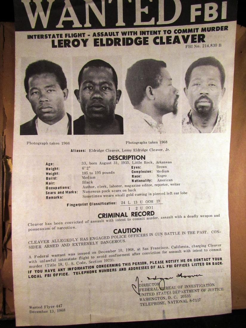 1968 FBI wanted poster Eldridge Cleaver