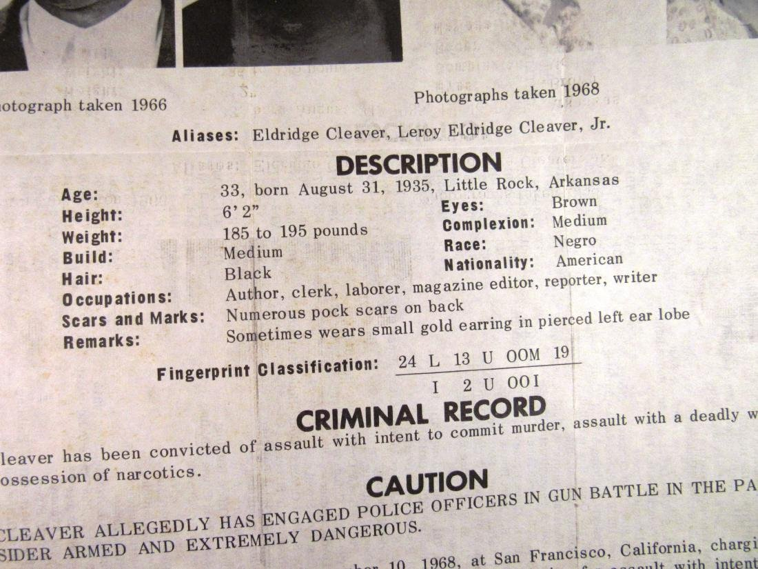 1968 FBI wanted poster Eldridge Cleaver - 3