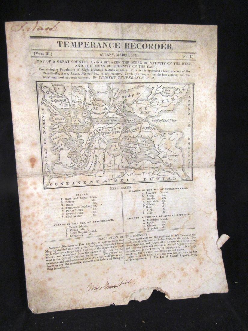 Temperence Recorder,1834, Albany NY