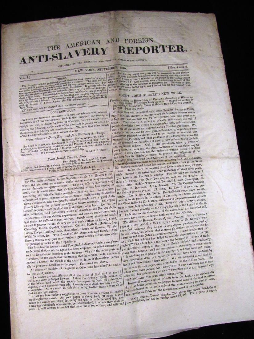 Abolitionist newspaper Sep 1840