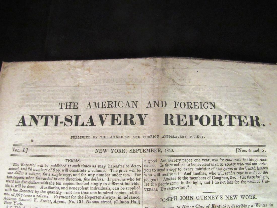 Abolitionist newspaper Sep 1840 - 2