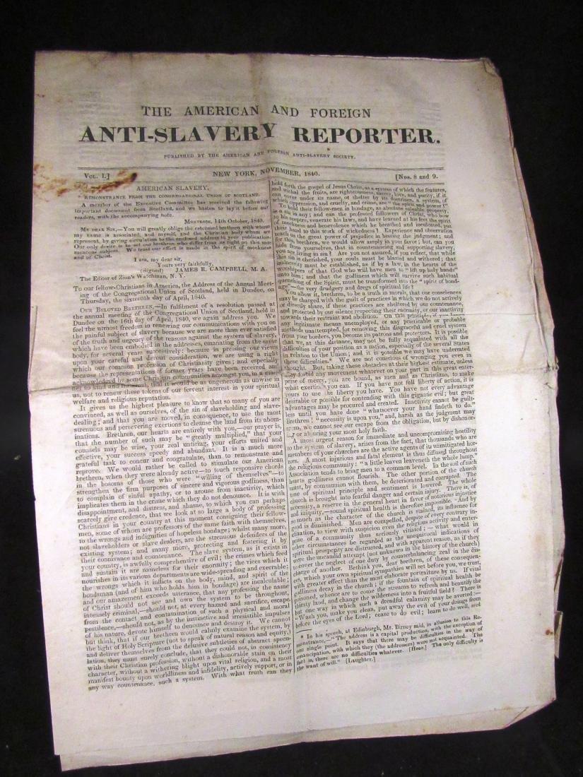 Abolitionist newspaper Nov 1840