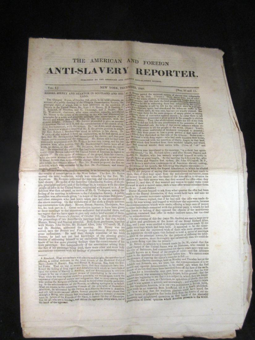Abolitionist newspaper Dec 1840