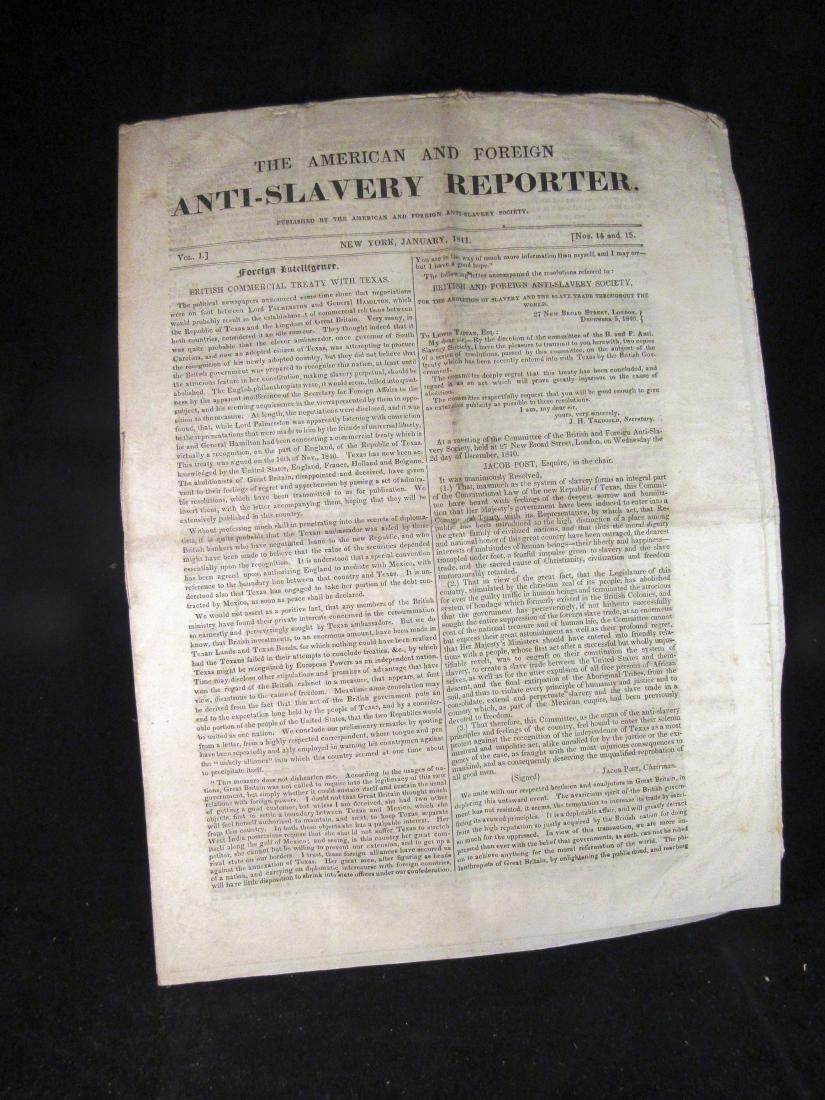 Abolitionist newspaper Jan 1841