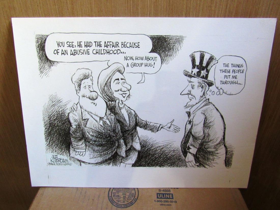 Jeff Koterba Clintons cartoon, signed