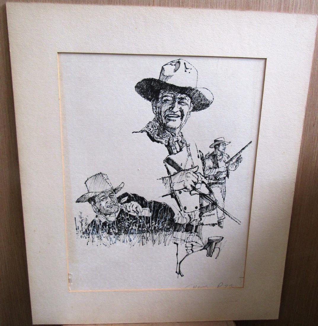 1970's John Wayne illus.signed M.Rogers