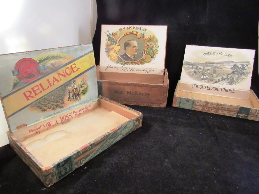 (4) antique cigar boxes, 3- Poughkeepsie,NY