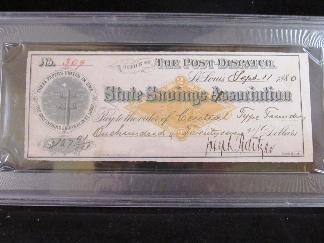 1880 Joseph Pulitzer autograph check PSA 8
