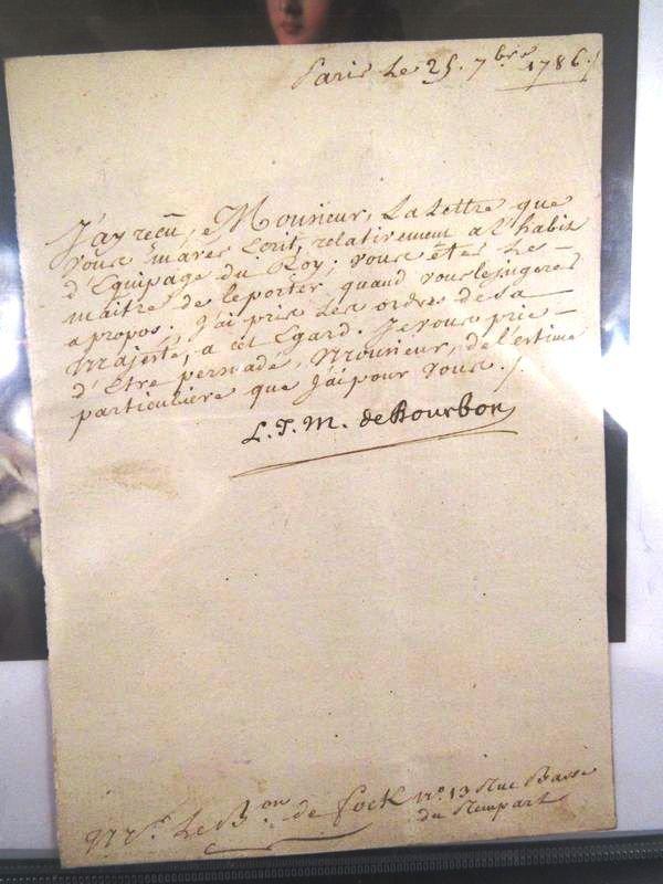 1786 Louis Jean Marie de Bourbon  autograph letter