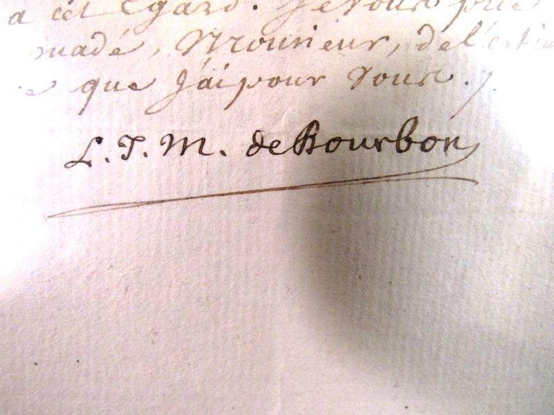 1786 Louis Jean Marie de Bourbon  autograph letter - 2